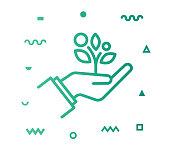istock Sustainable Lifestyle Line Style Icon Design 1154839348