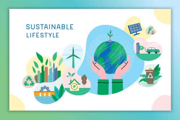 Sustainable lifestyle Environmental conservation concept. Hands holding planet Earth. Editable vectors on layers. This image includes one blend and one gradient background. environmental issues stock illustrations
