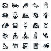 Icons representing sustainable living. The icons include environmental conservation efforts, electric car, carbon footprint, sustainable foods and eating, thumbs up, recycling, farm foods, compact fluorescent light bulb, LED light bulb, green house, house, public transportation, family, solar panels, garden vegetables, a person riding a bicycle, eliminating plastics, an environmentalist, water conservation, energy efficient appliances, turning off light switches and eliminating vehicle exhaust to name just a few.