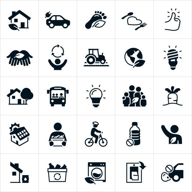 illustrations, cliparts, dessins animés et icônes de icônes de mode de vie durable - développement durable