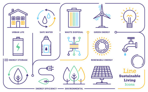 sustainable living line icon set - sustainability stock illustrations