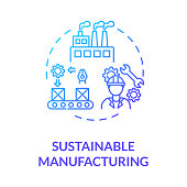 Sustainable manufacturing blue gradient concept icon. Ecoological factory production. Responsible development idea thin line illustration. Vector isolated outline RGB color drawing
