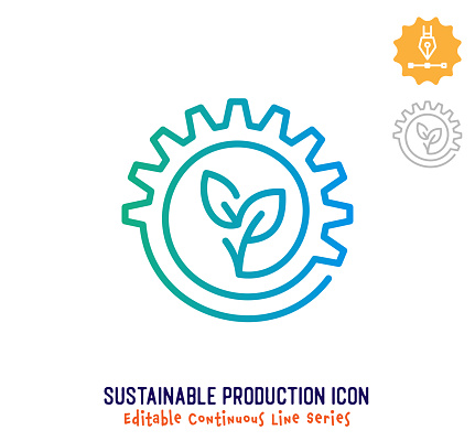 Sustainable Production Continuous Line Editable Icon