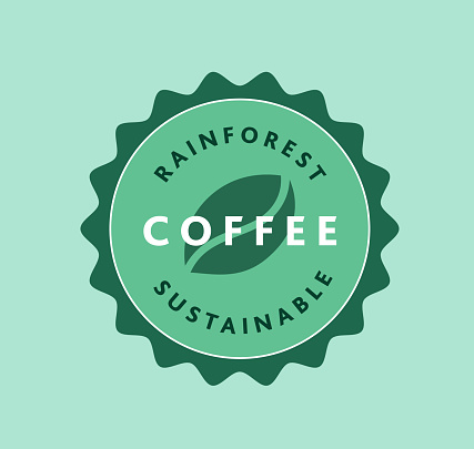 Sustainable Rainforest Roasted Coffee label design