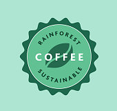 istock Sustainable Rainforest Roasted Coffee label design 1256769811