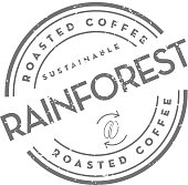 istock Sustainable Rainforest Roasted Coffee round labels on coffee bean on white background 1140691824