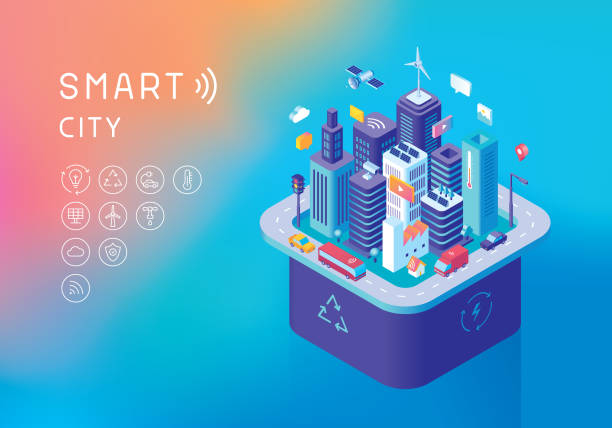 Sustainable smart city concept Editable vector illustration on layers.  This is an AI EPS 10 file format, with transparency effects, gradients and one gradient mesh. smart city stock illustrations