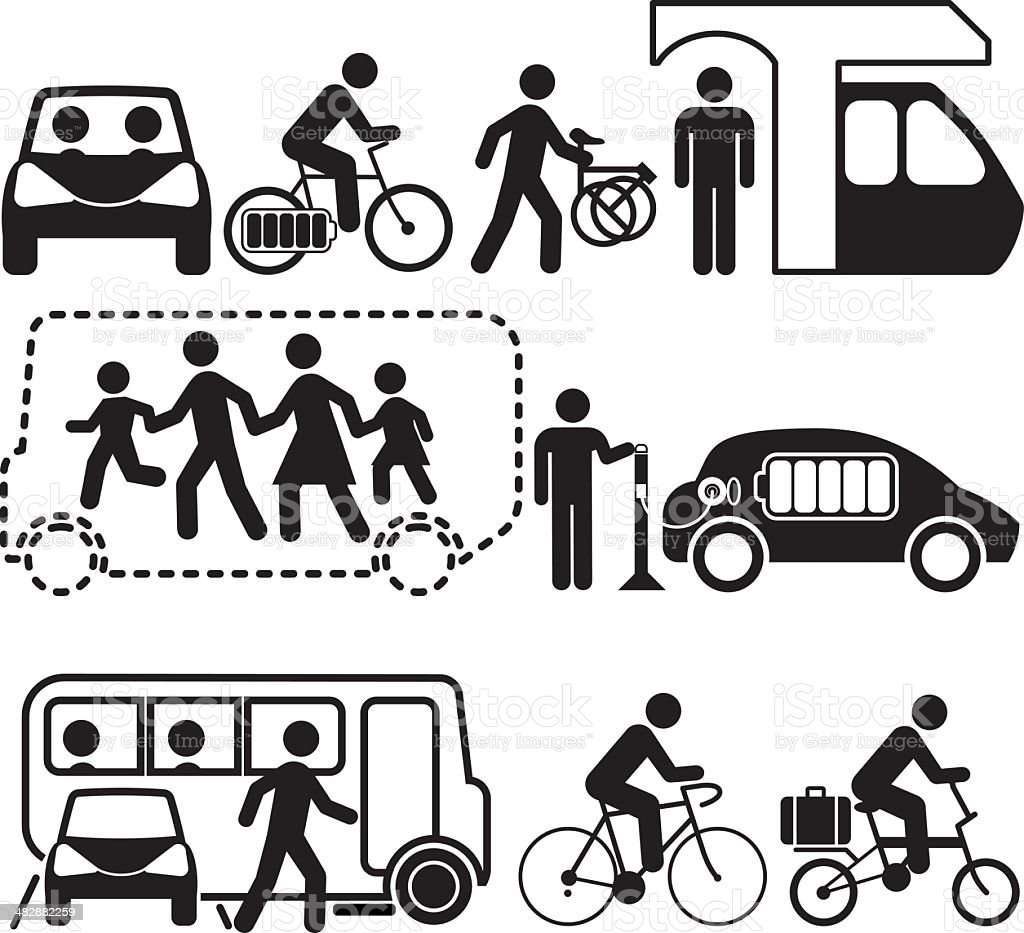 Sustainable Transport vector art illustration