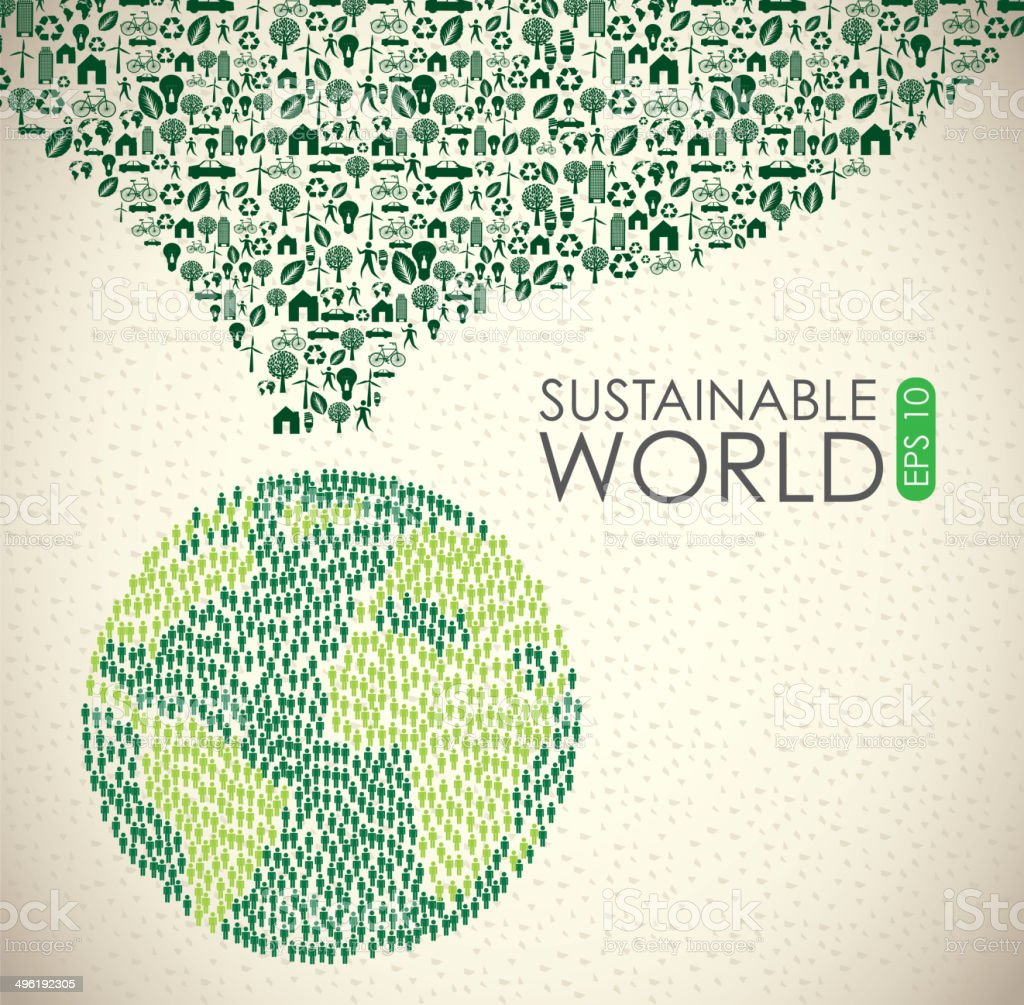 Sustainable world vector art illustration