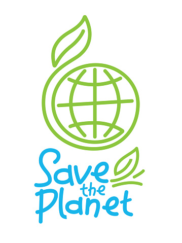 Sustainable world with the written Save the planet.