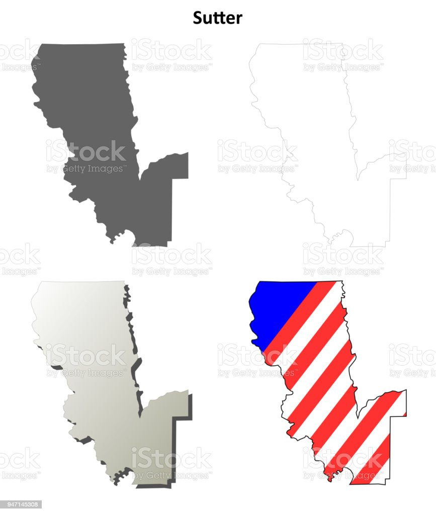 Sutter County California Outline Map Set Royalty Free