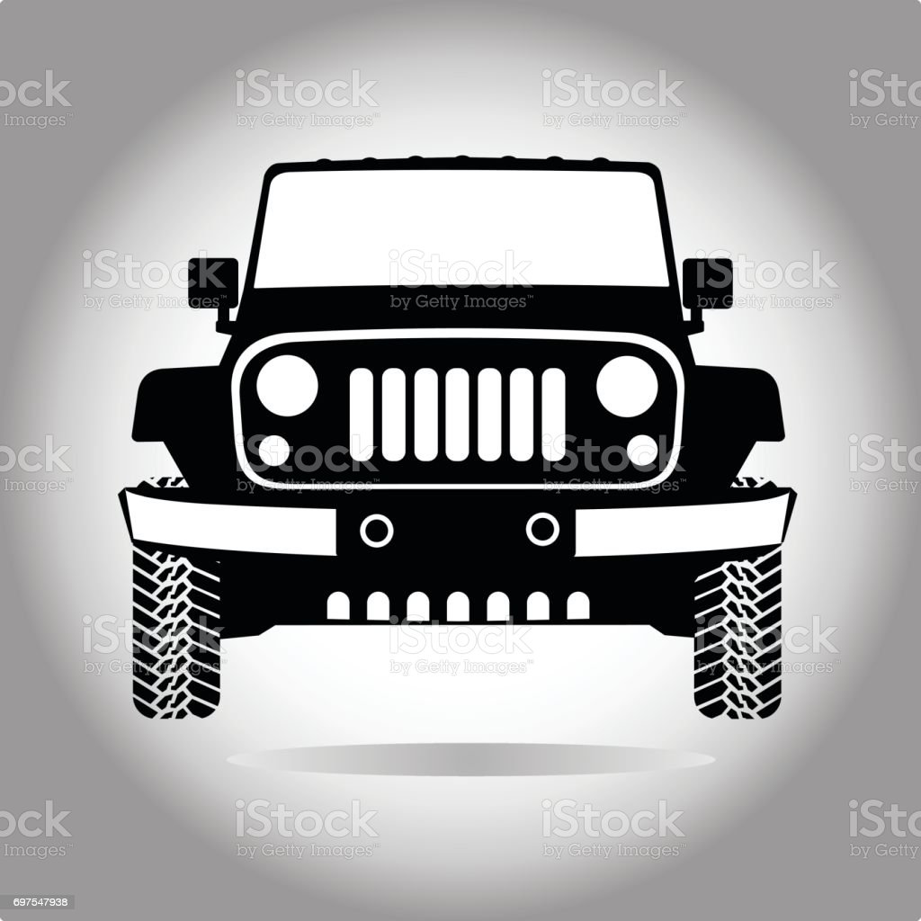 Suv 4x4 in front vector art illustration