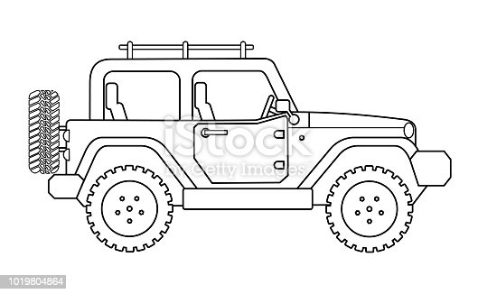 Suv for safari and extreme travel drawing vector eps 10