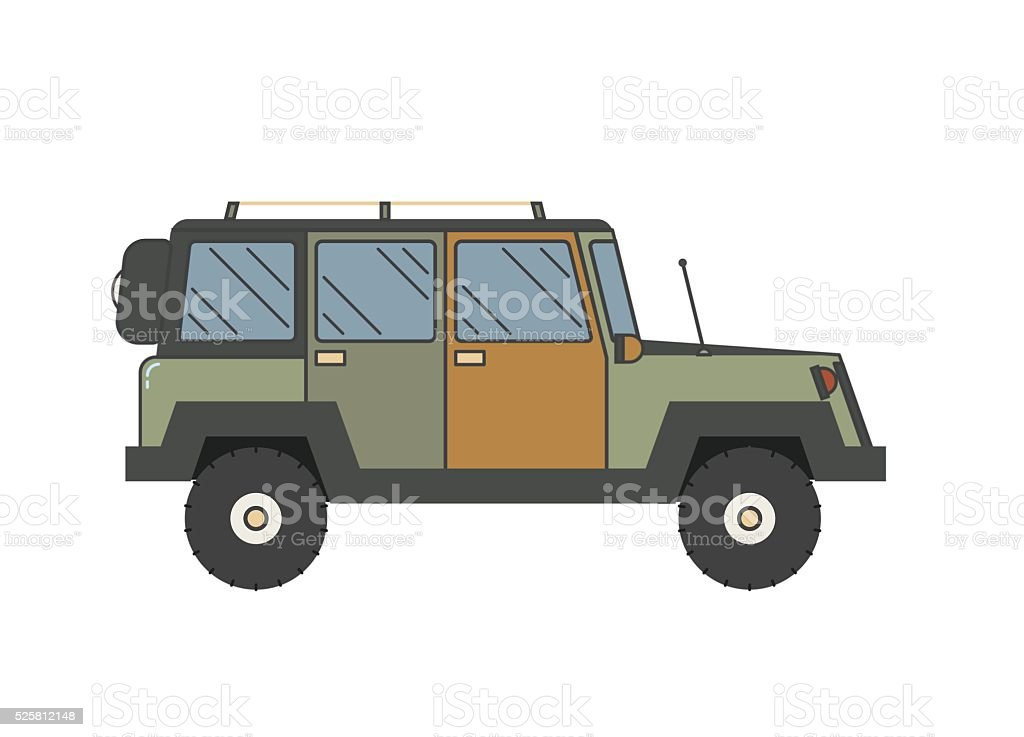 Suv Jeep Outline and Thin Line Icon vector art illustration