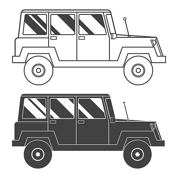 Suv Outline and Thin Line Icon Adventure traveler truck outline and thin line icon. Suv jeep for safari and extreme travel pictogram in black and white. Vector monochrome silhouette Rv icon rv interior stock illustrations