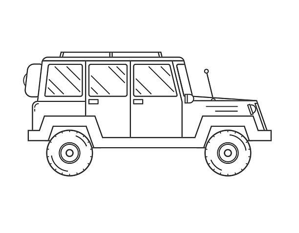 Suv Outline and Thin Line Icon Adventure traveler truck outline and thin line icon. Suv for safari and extreme travel pictogram in black and white. Vector monochrome silhouette Rv icon rv interior stock illustrations
