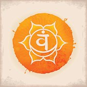 Vintage Watercolour Chakra Symbol 2. The Svadhishthana Chakra in the middle of a 6-petaled Lotus flower. Physically, Svadhishthana governs reproduction, mentally it governs creativity, emotionally it governs joy, and spiritually it governs enthusiasm.