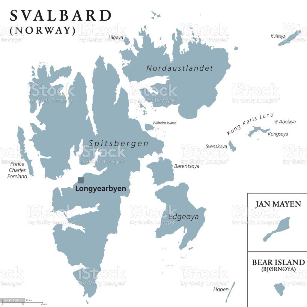 Svalbard Jan Mayen And Bear Island Political Map Stock Vector Art ...