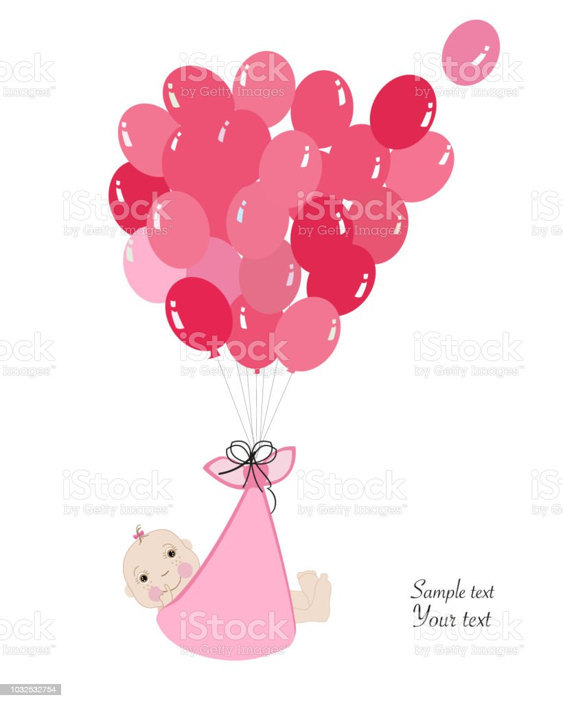 swaddle baby boy announcement card with balloon stock vector art
