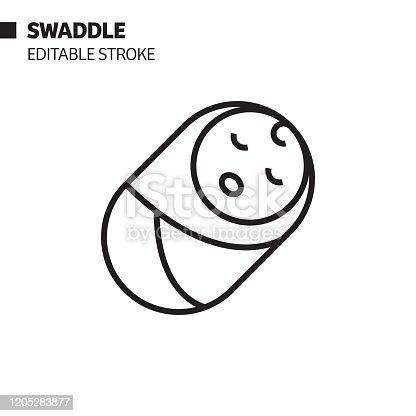 istock Swaddle Line Icon, Outline Vector Symbol Illustration. Pixel Perfect, Editable Stroke. 1205283877
