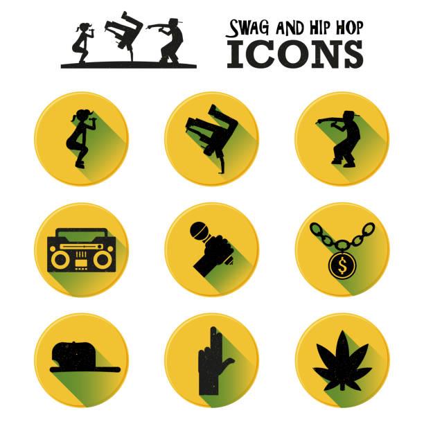 illustrations, cliparts, dessins animés et icônes de swag et hip hop music icon set - twerk