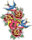 swallow and rose emblem