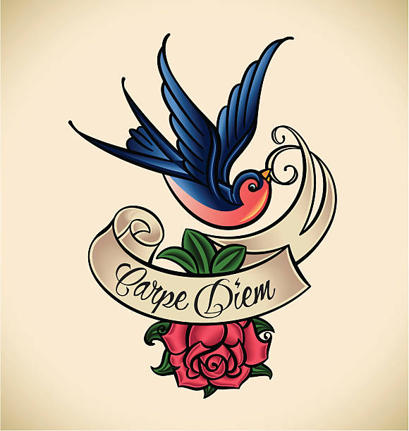 Swallow and rose, old-school tattoo vector art illustration