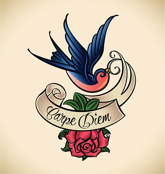 illustrations, cliparts, dessins animés et icônes de hirondelle et rose, old-school tatouage - tatouages d'oiseaux