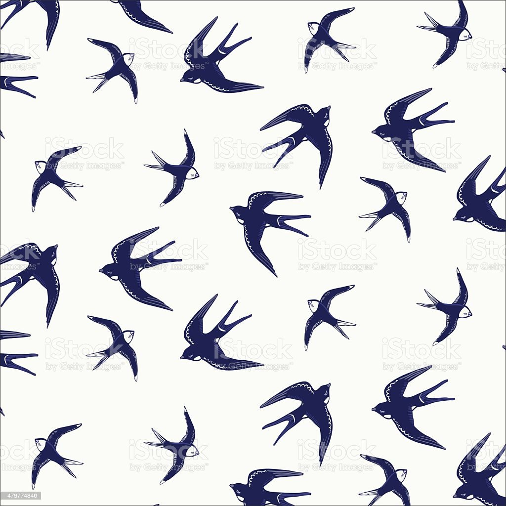 Hirondelle motif oiseau - Illustration vectorielle
