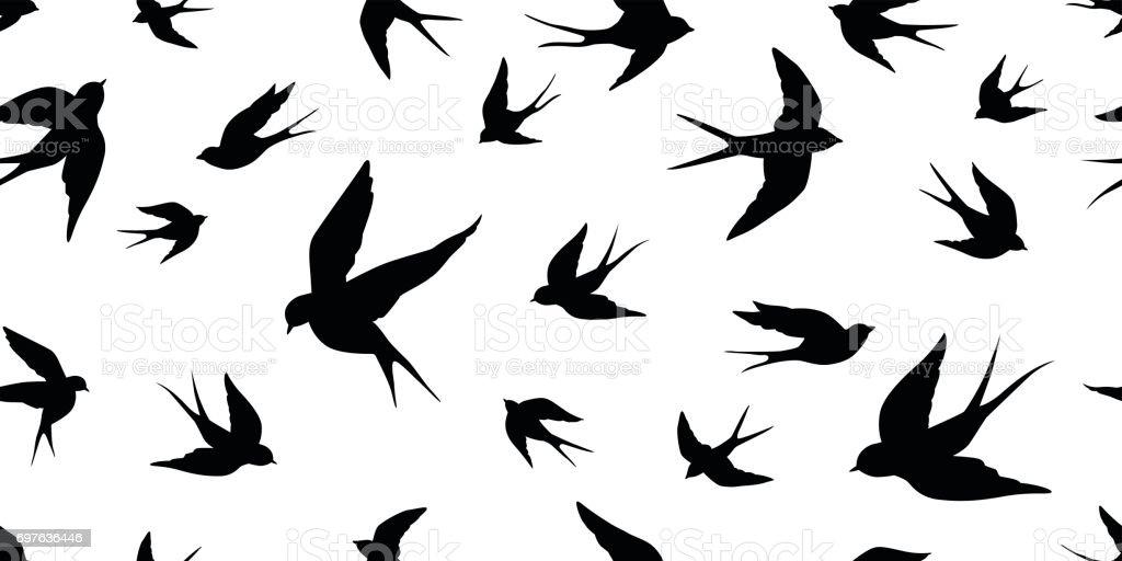 Swallow bird vector Seamless Pattern wallpaper background