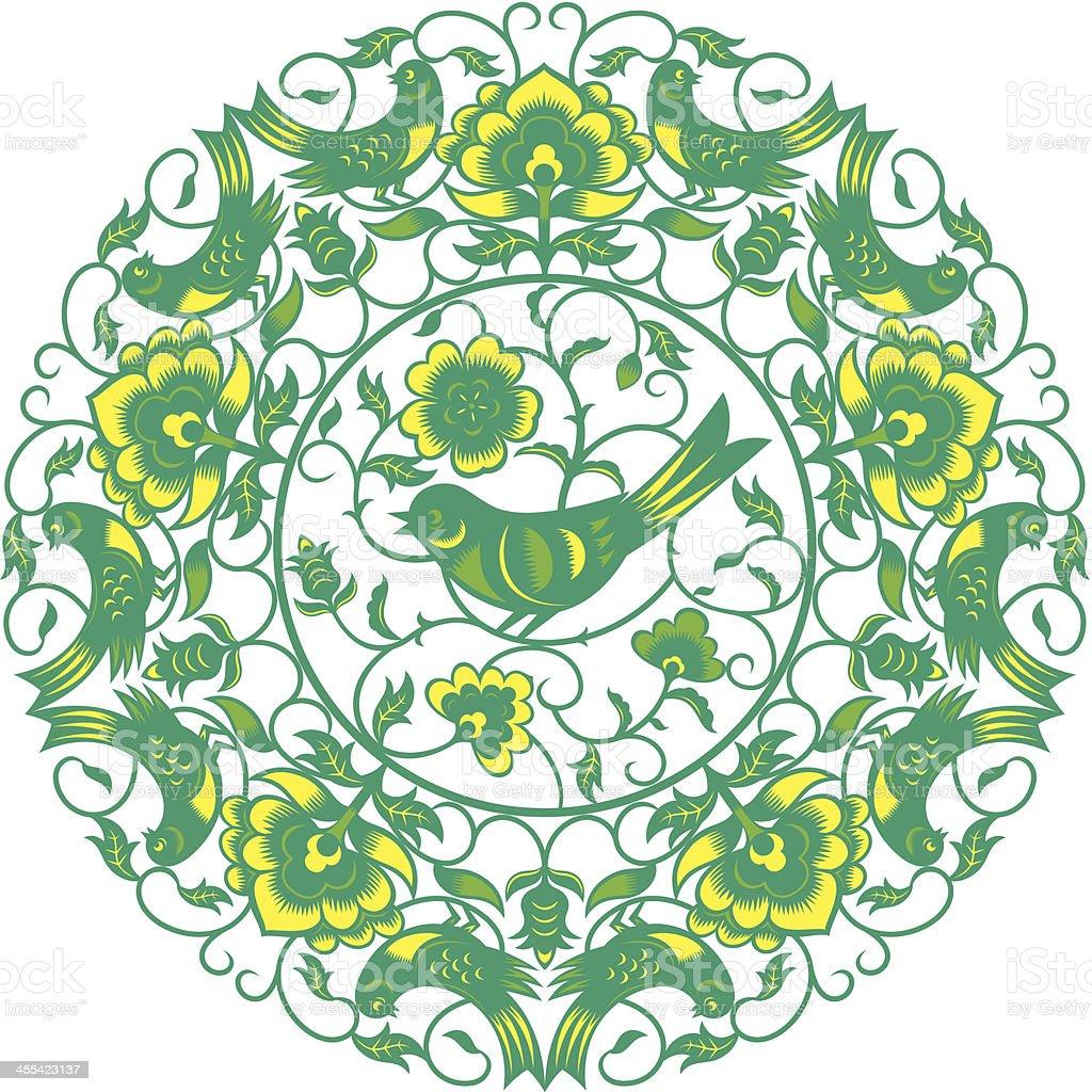 swallow ornaments vector art illustration