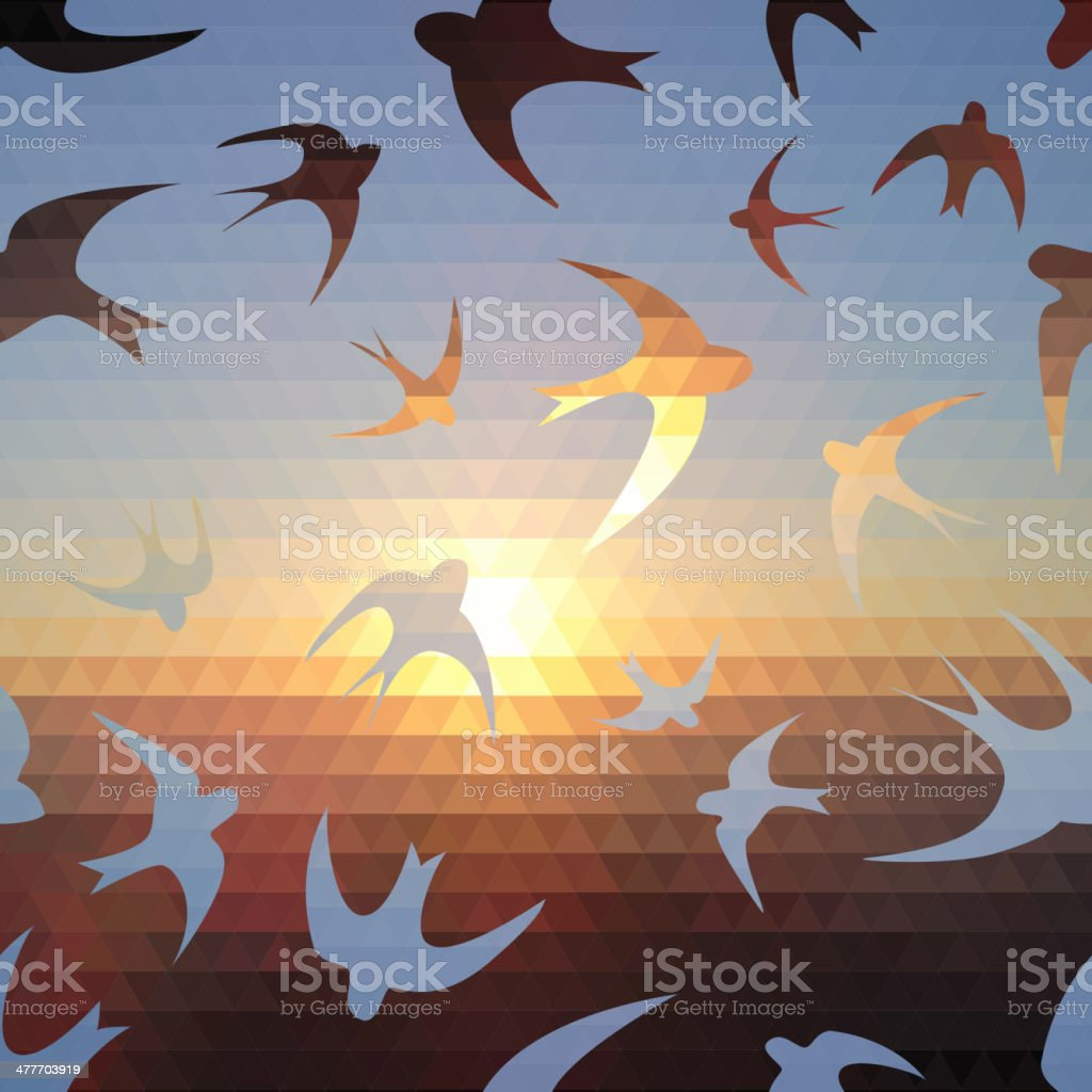 swallow silhouette on triangle sky and sun vector art illustration