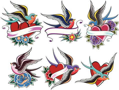 Bird tattoo stock illustrations