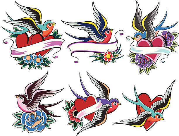 schwalbe tattoo-design - vogel tattoos stock-grafiken, -clipart, -cartoons und -symbole