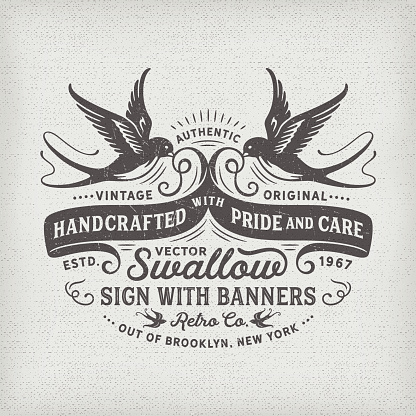 Swallows and Banners T-shirt Graphic Design