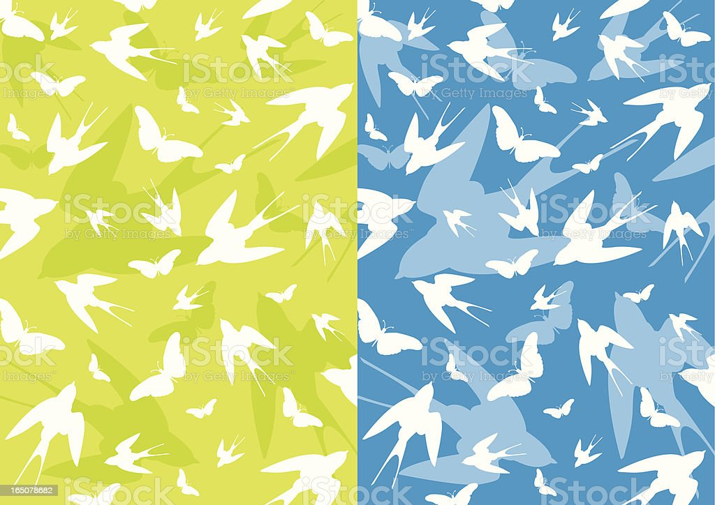 Swallows & Butterflys in Repeat royalty-free stock vector art