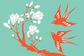 Vector Illustration of swallows & magnolia.
