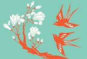 Vector Illustration of swallows & magnolia.
