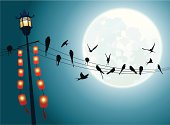 Swallows on the string with Full moon background and lamp pole and hanging Chinese lanterns