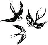 Swallows tattoo set