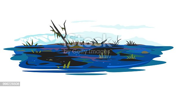 Dark wild swamp landscape with dirty water and various plants, dead trees with stones and plants, ecological disaster, dirty toxic effluents, environmental pollution, isolated