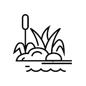 istock Swamp plants line icon, concept sign, outline vector illustration, linear symbol 1210193801