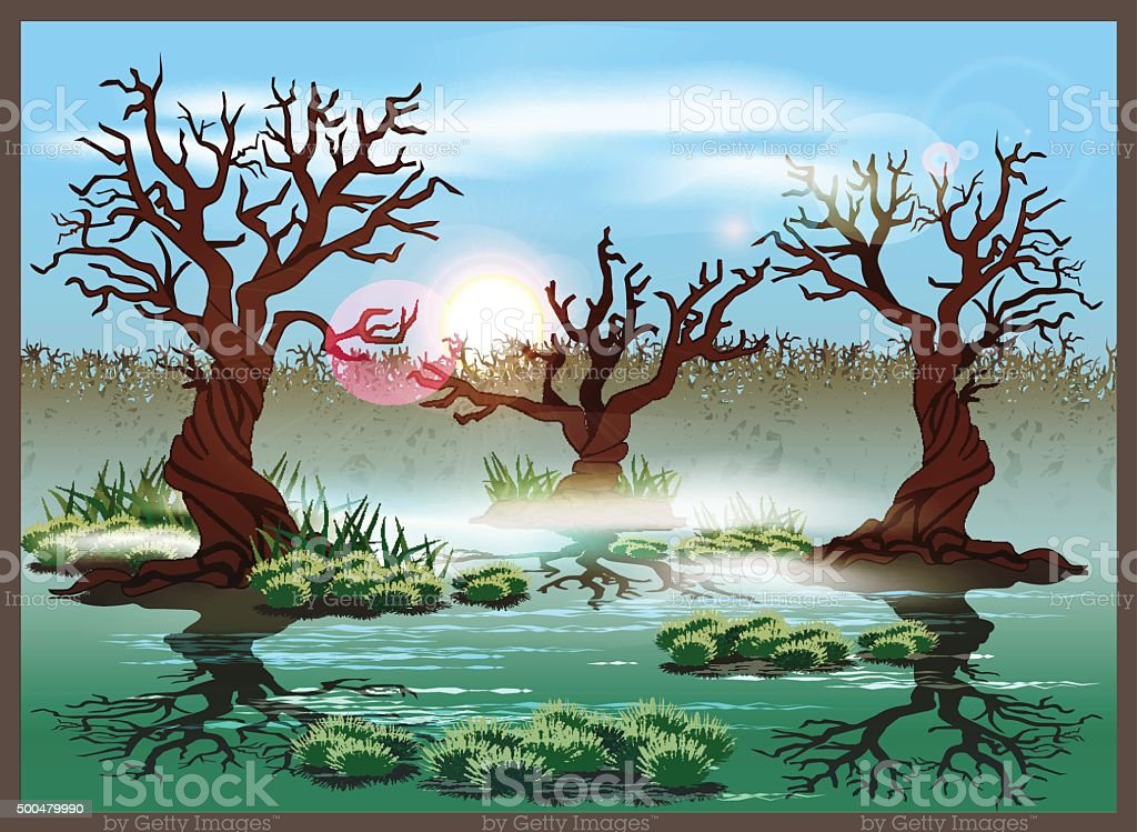 swamp vector art illustration