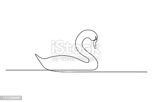 Graceful swan bird on water surface in continuous line art drawing style. Minimal black linear sketch isolated on white background. Vector illustration