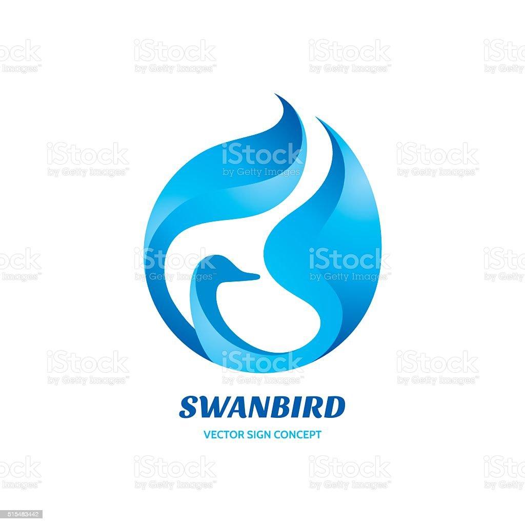 Swan bird - vector sign concept illustration. vector art illustration