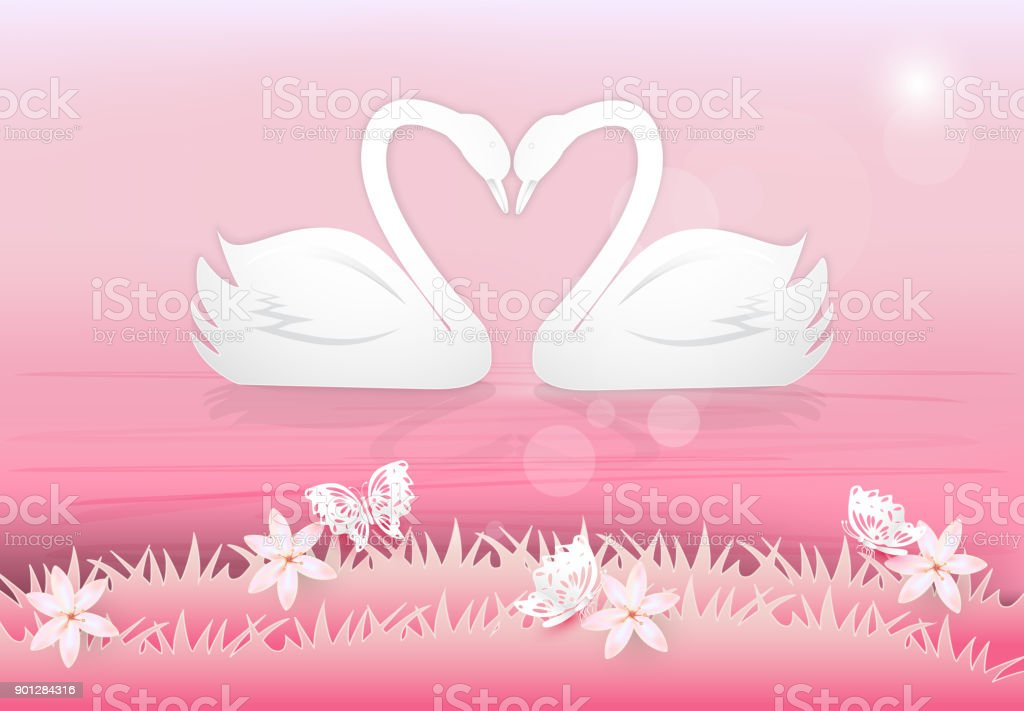 Swan Couple In The Pond And Butterflies Paper Art Style Valentine