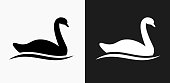 istock Swan Icon on Black and White Vector Backgrounds 815411798
