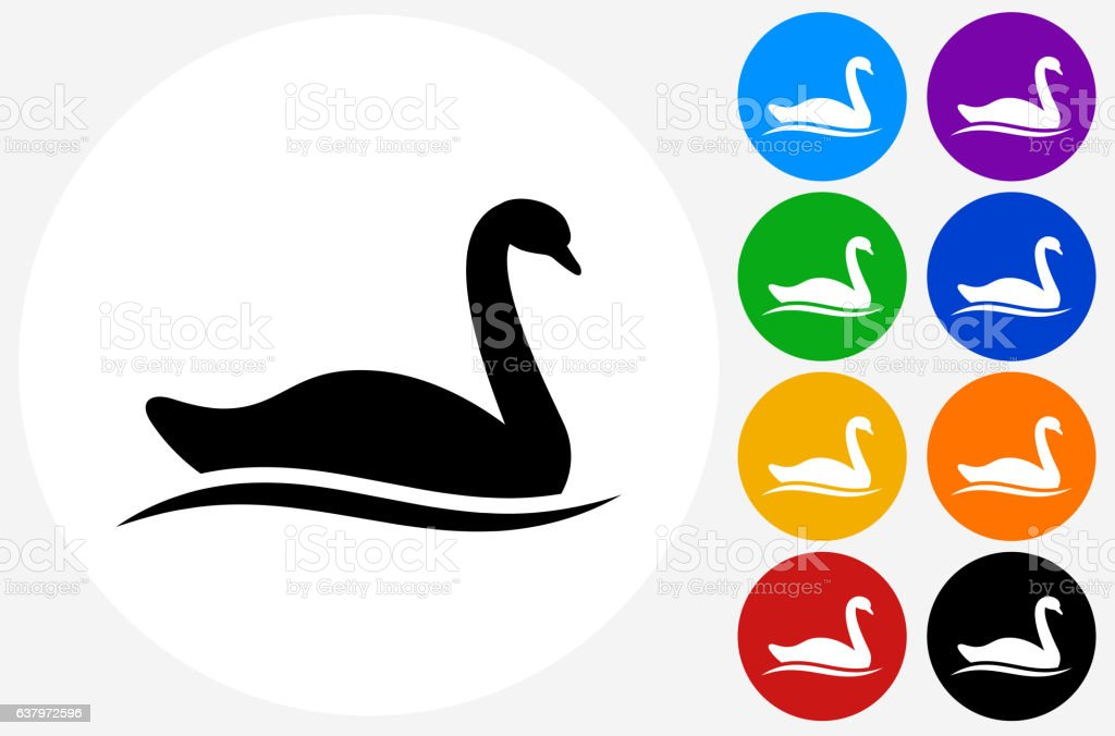 Swan Icon on Flat Color Circle Buttons vector art illustration