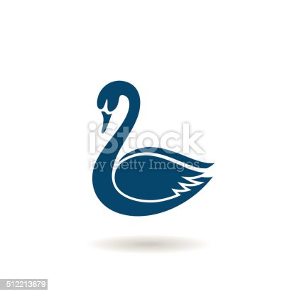 Blue swan icon, logo or symbol.