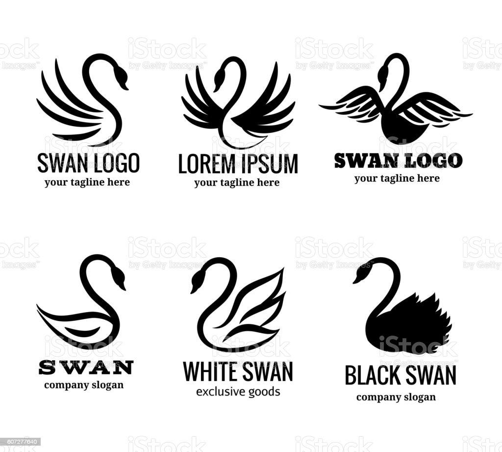 Swan logo set black logotypes vector vector art illustration